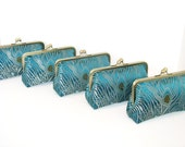SALE 20% OFF, Peacock Clutches In Iridescent  Brocade,Set Of 5,Bridal Accessories,Bridesmaid Clutch,Bridesmaid Gift,Wedding Purse