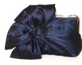 Silk Bow Clutch Navy,Bridal Accessories,Bridal Clutch,Bridesmaid Clutch,Clutch Purse,Formal