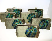 SALE 25% OFF Cascading Peacock  Silk Dupioni Clutch In Siberian Gold Set Of  7