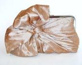 SALE - Silk Bow-champagne-Bridal Clutch-Bridesmaid Clutch-Clutch Purse-Formal Clutch-Bridal Accessories-Bridesmaid Gift