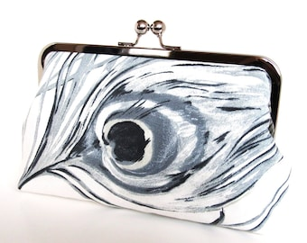 Imperial Peacock Clutch In Graphite And Ivory,Peacock Feather,Bridesmaid Clutch,Bridesmaid Gift