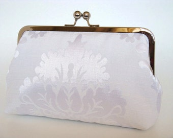 Damask Brides Clutch,Bridal Accessories,Bridal Clutch,Clutch,Formal,Wedding Purse,Bridesmaid Gifts