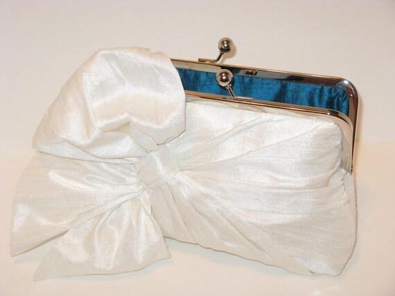 Elegant Silk Dupioni Bow Clutch In Light Ivory