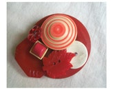 Brooch Vintage Collection Upcycled Red Buttons