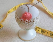 Vintage egg cup remake Pincushion reimagined Small wonder Tiny gift Spring Easter egg
