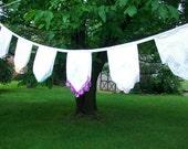 Hankie garland Party banner Festive swag Vintage hankies Lace trimmed hankies Rustic wedding