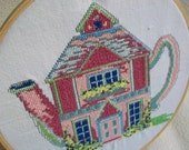 Wall Art Hoop Embroidered Crossstitch Teapot House