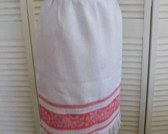 Hostess apron Vintage linen handtowel remake Red damask bands Fringed edge Half apron Reversible apron