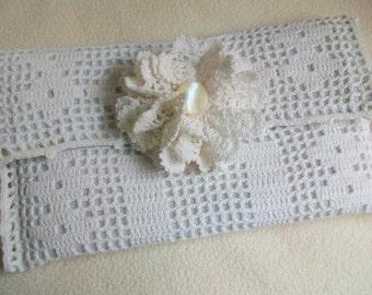 Brides clutch, Envelope purse, Vintage doily remake, Detachable flower trim