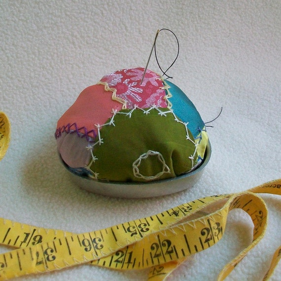 Pin Cushion Reused Vintage Materials Quilt Tin Heart Mold