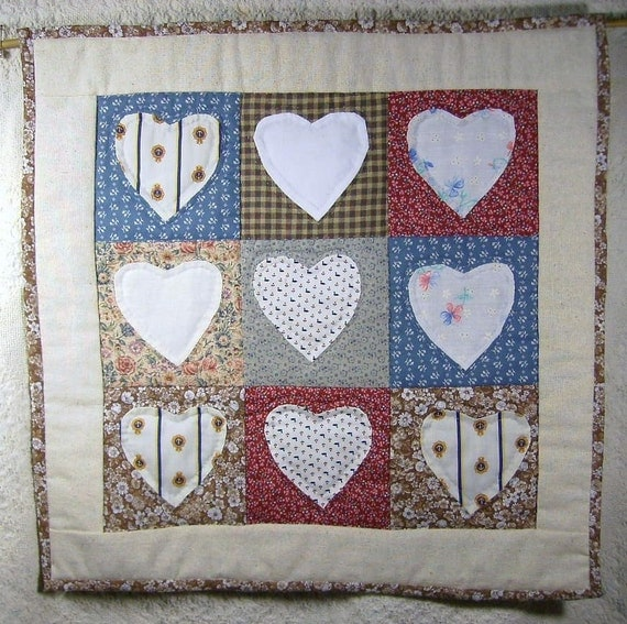 Small Quilt, Wall Hanging, Scrappy Hearts, Hand Applique, Hand Quilted, Traditional Design, Primative Folk Art, Americana, Apt Dorm Decor,