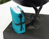 Common Teal - Suede Mini Journal Necklace (1 3/4in x 1 3/8in)
