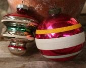 christmas mid century shiny brite set 2 glass shiny brite striped ornaments vintage