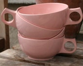 pastel pink set of 4 melmac cups vintage