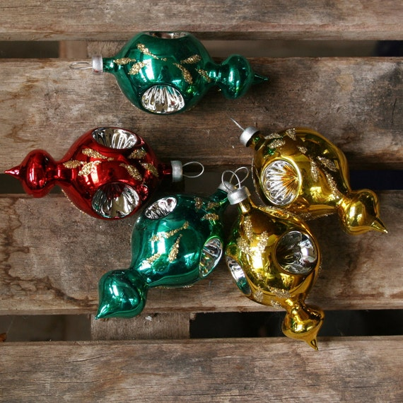 christmas set 5 glass red, aqua, gold glitter concaved teardrop ornaments vintage