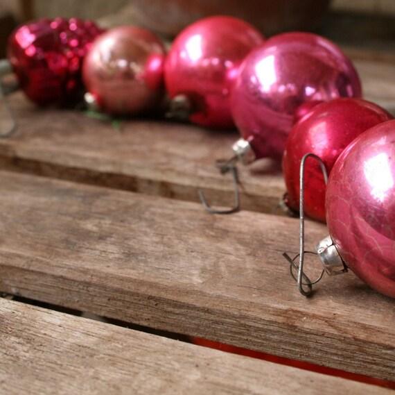 mid century set 6 glass pink variety ornaments vintage