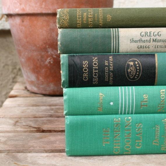 RESERVED rustic green home decor book set vintage