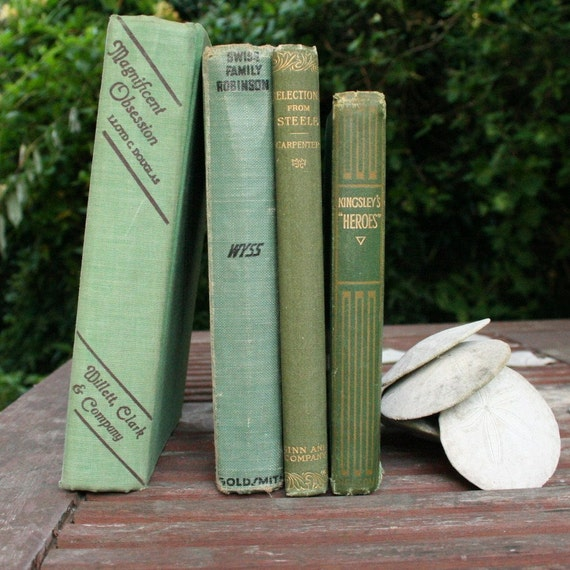 Pistachio olive green home decor book set vintage instant for Olive green home decor