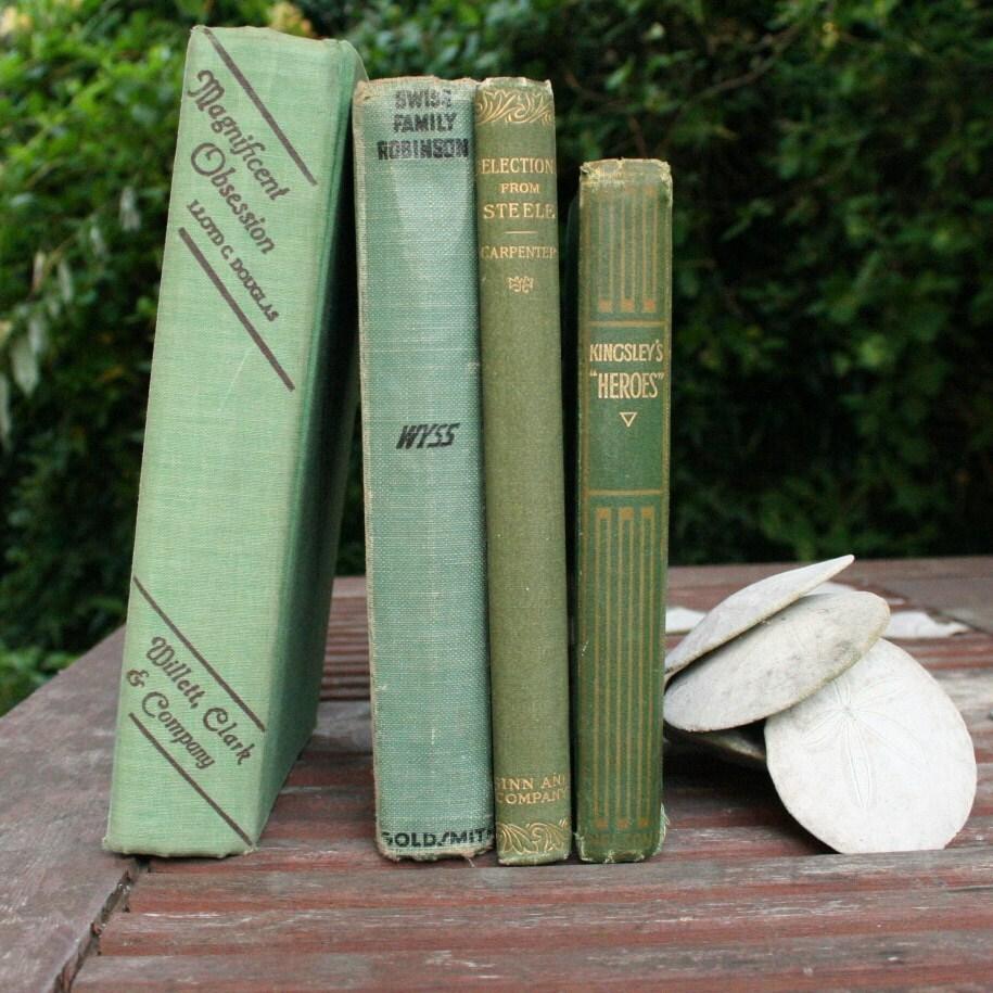 Pistachio Olive Green Home Decor Book Set Vintage Instant