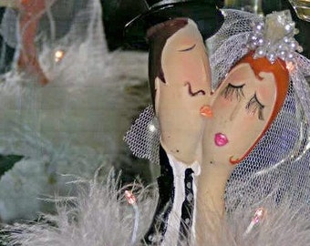 French look whimsical couple lighted bridal cake topper w/feather boa trim