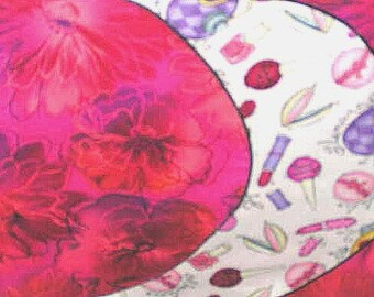 Sale Reversible cotton runner, bedroom/bath vanity, make-up, basket liner/ hot pink, purple, pink, 12x44in.Sweetness