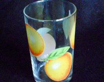 Pretty vintage juice glass with oranges decor in VGVC