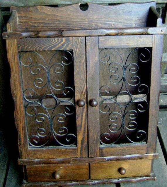 Sale Wonderful little vintage wood wall spice/jewelry cabinet with space to hang earrings/necklace/brooch/bracelet on ornate metal doors