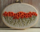 Hand Embroidered Orange Poppy Field Wall Art