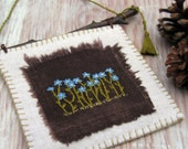 Rustic Hand Embroidered Forget Me Not Wall Art