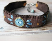 Turquoise and Brown Boho Embroidered Bracelet