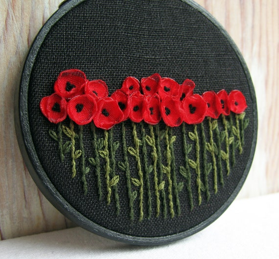 Hand Embroidered Red Poppies Wall Decor