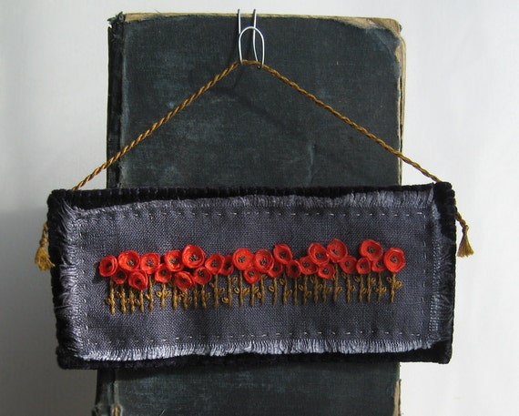 Fiber Art Wall Hanging - Orange Poppies Embroidered Wall Decor