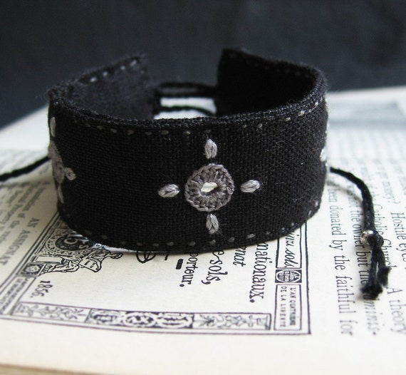 Black Bohemian Cuff Bracelet, Grey Hand Embroidery with Shisha Mirrors