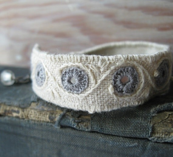 Cuff Bracelet / Embroidered Bracelet Boho Mirror Design In Grey and Natural Linen