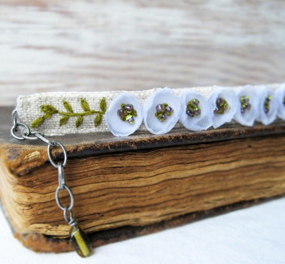 White Floral Bracelet, Hand Embroidered Natural Linen Jewelry