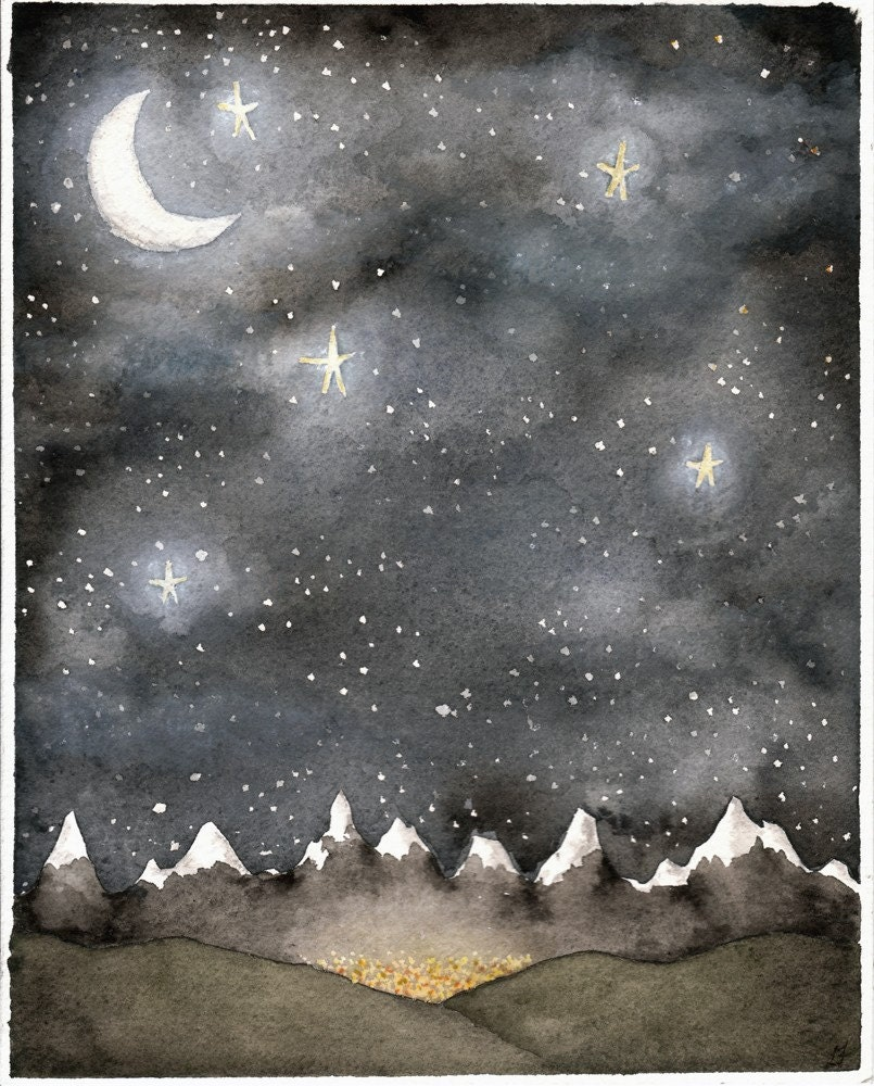 Under A Night Sky Original Watercolor Painting 8 X 10
