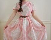 SALE Vintage 1950's L'AIGLON Sheer Spring Roses Dress