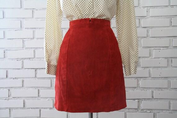 SALE Vintage High Waist Red Suede Skirt