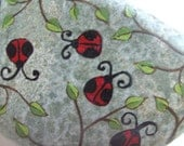 Ladybug Garden Handpainted Riverrock Ready to Ship