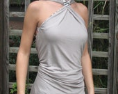Gray and White Reversible Halter