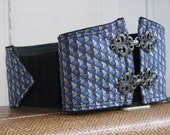 Womens Vintage Mens Tie Belt -- Custom Size -- Blue and Gray Diamond Print