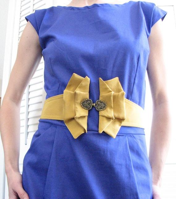 Womens Waist Belt -- Upcycled Vintage Silk Tie -- Mustard Yellow -- Custom Size