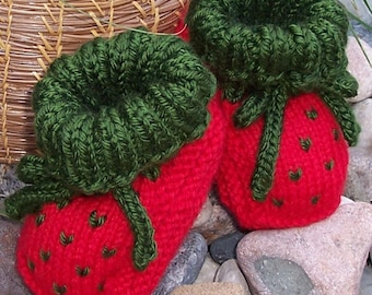 PATTERN - Knit Strawberry Booties