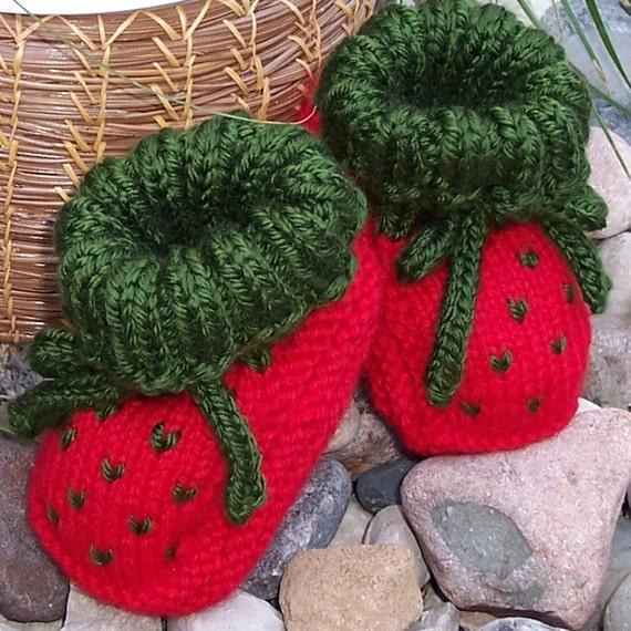 PATTERN - Knit Strawberry Booties