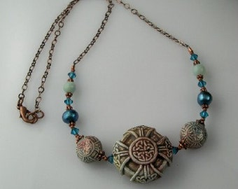 Celtic Knot Copper Necklace with Raku Celtic bead, freshwater Pearls and Swarovski Crystals