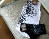 Tank Top and Panty Set White and Black Roses by Blonde Peacock