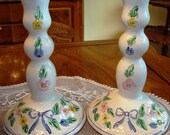Herend, candle sticks, floral hand painted candlesticks, china candlesticks, home decor, shabby chic