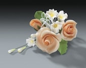 2 Sets of Peach Rose Gum Paste Flower Sprays for Weddings and Cake Decorating