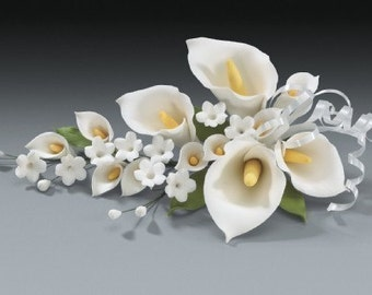 2 Calla Lily Gum Paste Flower Spray for Weddings and Cake Decorating