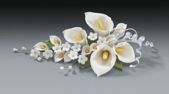 2 calla lily gum paste flower spray for weddings and cake. Black Bedroom Furniture Sets. Home Design Ideas